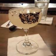 A sake, lemongrass and sesame seed cocktail in San Juan, PR.