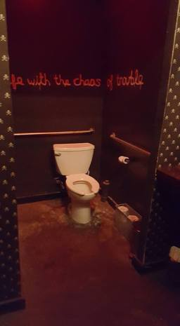 I really loved the decor of this bathroom. I can't remember the name of the bar.
