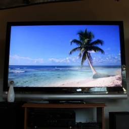 "Looped beach video from YouTube + Pandora ""Beach Bar music"" station = setting the mood."