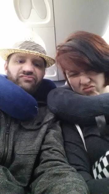 Our 5:45 am flight to San Francisco during our honeymoon