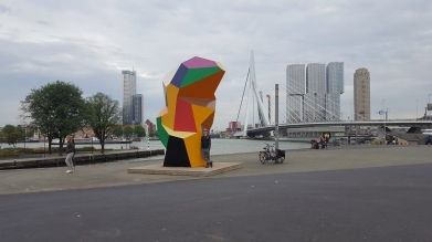 Modern art plus the famous Erasmus bridge and the famous Vertical City building trio (http://www.derotterdam.nl/en/vertical_city)
