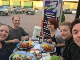 Out to dinner with our Dutch friends, Nina, Amber and Con